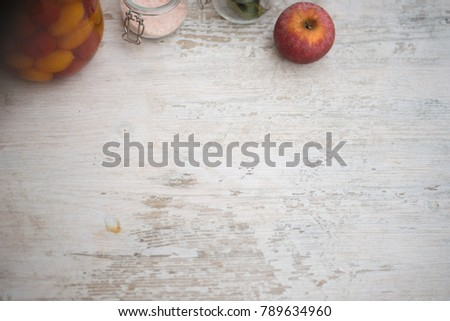 White rustic wooden table with fruits and spices. Copy space for text.  #789634960