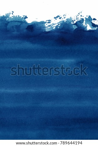 dark blue watercolor background, shades of blue in an artistic abstract spot #789644194