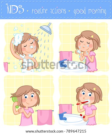 Good morning sunshine - adorable little girl with light brown hair and her good morning routine - set of six daily routines