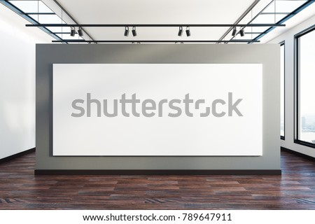 Creative exhibition interior with clean billboard and city view. Advertisement and gallery concept. Mock up, 3D Rendering  #789647911
