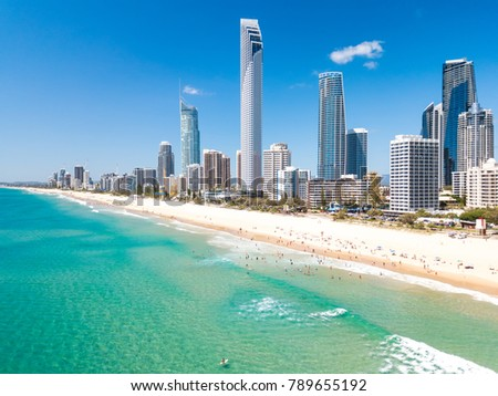 Surfers Paradise aerial view on a clear day on the Gold Coast with blue water #789655192