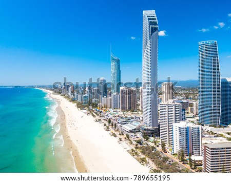 Surfers Paradise aerial view on a clear day on the Gold Coast with blue water Royalty-Free Stock Photo #789655195