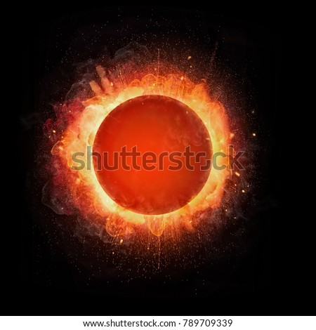 Abstract fire ball explosion with free space for text, isolated on black background #789709339