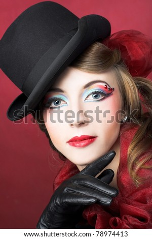 Young woman in vintage hat, checkered plaid and gloves. #78974413