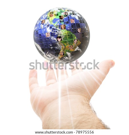 An abstract conceptual montage of a hand holding up the earth filled with people of all different races nationalities and background.  Great for social media and communications concepts. #78975556