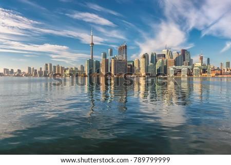 Toronto city skyline on sunny day, Toronto, Ontario, Canada.