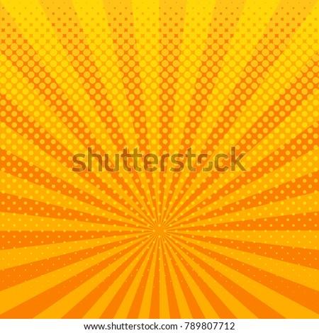 Yellow shining halftone design background retro raster illustration.