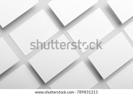 Real photo, business card collage mockup template, isolated on light grey background to place your design.  #789831211