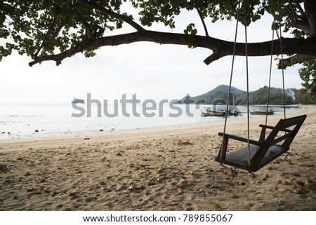 A wooden swing under the tree on the beach of beautiful island, Thailand #789855067