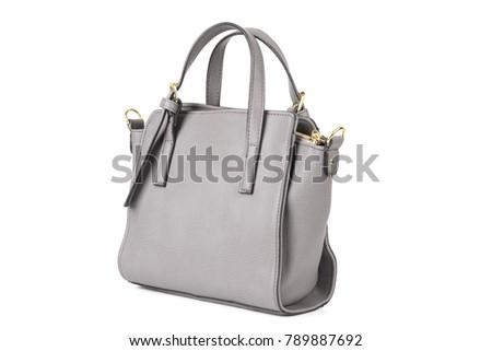 leather women handbag isolated on white background #789887692