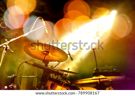 Drum and stage.Leisure and night entertainment.Live music concept background #789908167