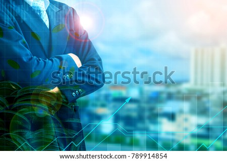 Finance and Investment concept.Money management and Financial chart.Double exposure investment #789914854
