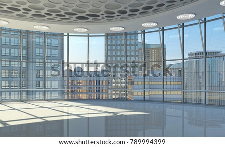 Interior of the hall with curved glazed walls and a view of the skyscrapers. 3d illustration. #789994399