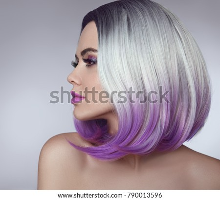 Ombre bob hair coloring woman. Beauty Portrait of blond model with short shiny hairstyle. Concept Coloring Hair.  #790013596