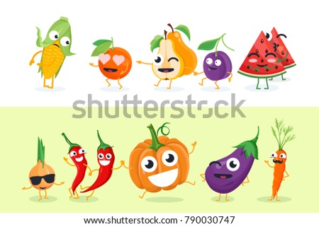 Funny fruit and vegetables - set of vector isolated characters illustrations on white and yellow background. Cute emoji of corn, pear, plum, pumpkin. High quality collection of cartoon emoticons #790030747