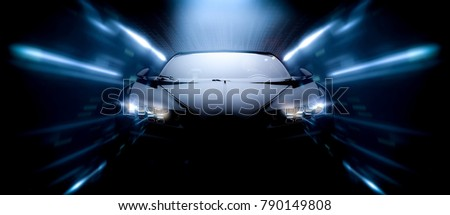 High speed black sports car front detail - futuristic concept, front view (with grunge overlay) - 3d illustration