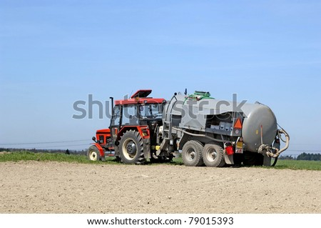 Tractor with reservoir on field against blue sky. #79015393