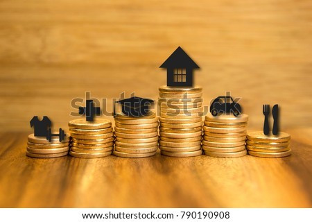 Personal expenses concept. Financial analysis background. Golden coins pile and icons. Photo and illustrations combined. Royalty-Free Stock Photo #790190908