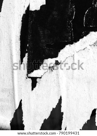 Old grunge ripped torn vintage collage posters black white creased crumpled paper surface texture background placard, #790199431