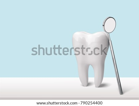 Tooth and dentist mirror #790254400