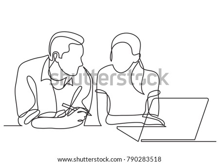 continuous line drawing of two coworkers talking