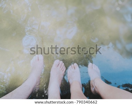 Couple selfie feet in hot spring.over view with textspace #790340662