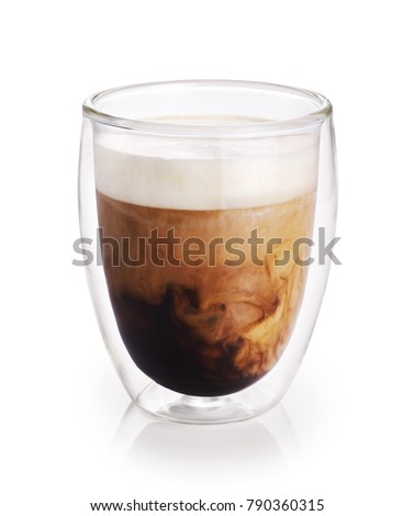 Hot coffee with milk in a glass with double walls isolated on white background. #790360315