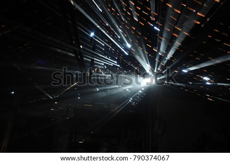 ray of light passes through the roof of the house #790374067