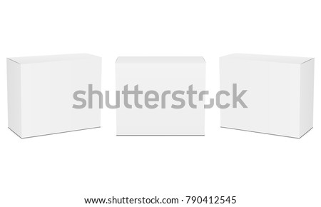 Set of small white cardboard boxes mockups. Vector illustration Royalty-Free Stock Photo #790412545