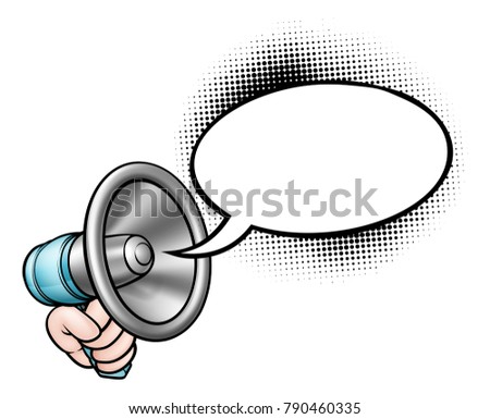 A hand holding a bullhorn or megaphone and speech bubble comic book illustration