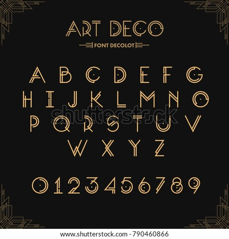 Art Deco creative font. Creative template in style of 1920s for your design. Letters, Numbers  in Vector. EPS 10