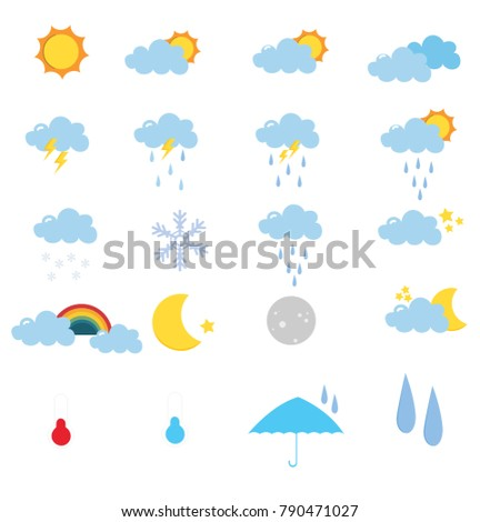 Set of weather with white background ,vector ,Illustrator #790471027