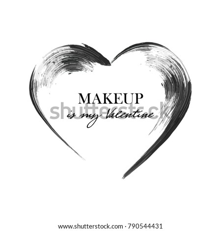 Mascara heart smear brush, black grunge swatch in heart shape isolated on white, vector illustration. Makeup is my Valentine. Concept card design for St. Valentine's Day. Woman's cosmetics concept. #790544431