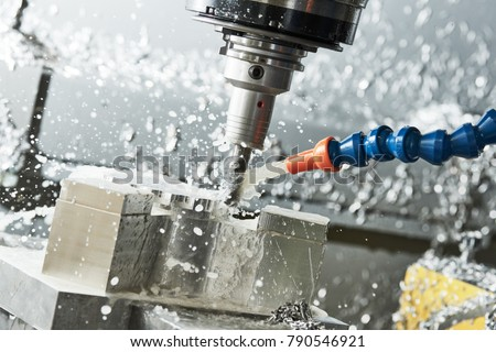 Milling metalworking process. Industrial CNC metal machining by vertical mill #790546921