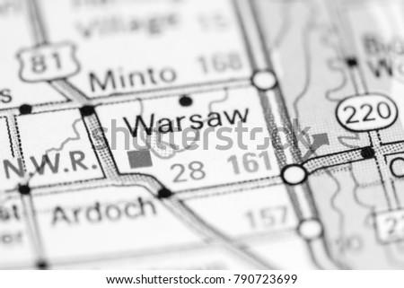 Warsaw. North Dakota. USA on a map. #790723699
