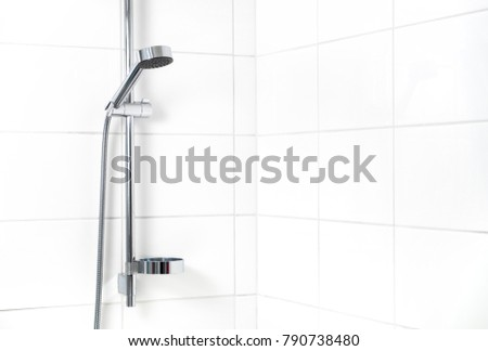 Modern shower with white wall tiles. Simple stylish Scandinavian home interior design. Clean fresh bathroom. #790738480