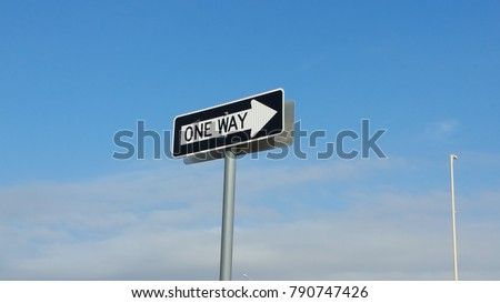 Roadside One Way Direction Sign