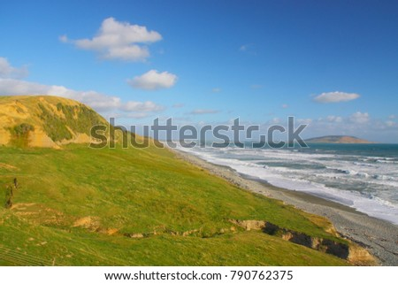 coastline near by orepuki in new zeland on the south island #790762375