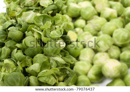 Pealed and unpeeled brussels sprouts, #79076437