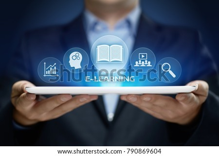 E-learning Education Internet Technology Webinar Online Courses concept. Royalty-Free Stock Photo #790869604