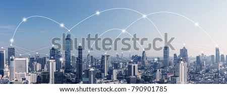 City scape with connecting dots for networking and communication. #790901785