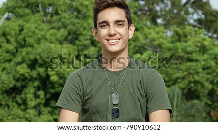 Smiling Young Colombian Male Soldier #790910632