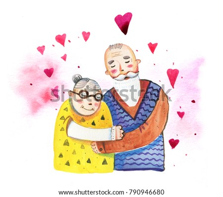 Hand drawn watercolor cartoon illustration for St Valentine's day with old couple and hearts