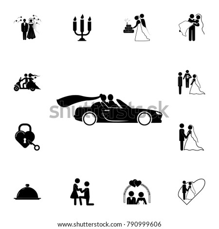 silhouette of a newlywed couple in the car icon. Set of wedding elements icon. Photo camera quality graphic design collection icons for websites, web design, mobile app on white background #790999606