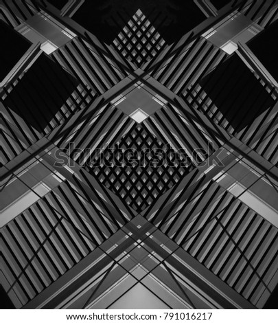 Double exposure photo of ceiling of modern industrial building. Abstract contemporary architecture. Black and white composition of grid structure. #791016217