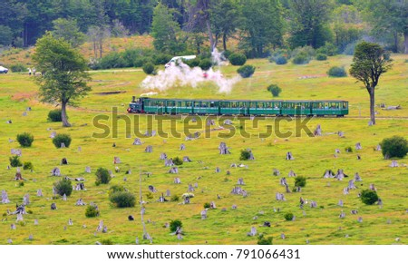 end of the world train tracks national park land of fire Royalty-Free Stock Photo #791066431