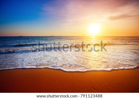sunset and sea #791123488