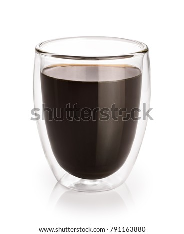 Hot coffee in a glass with double walls isolated on a white background. #791163880