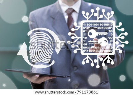 Security and Encryption Access Cyber Data. Man using virtual interface offers fingerprint circular arrow and presses circuit board keys button. Secure Microchips Computing Information Technology.