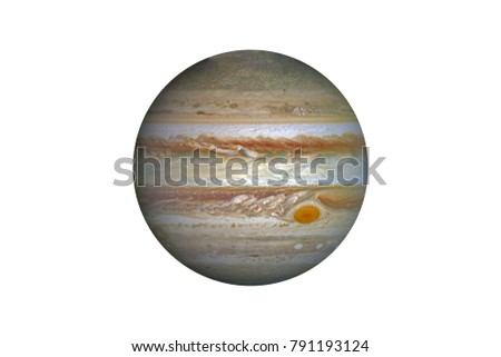 Planet Jupiter isolated on white. Elements of this image furnished by NASA